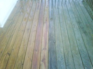 power washed wood deck